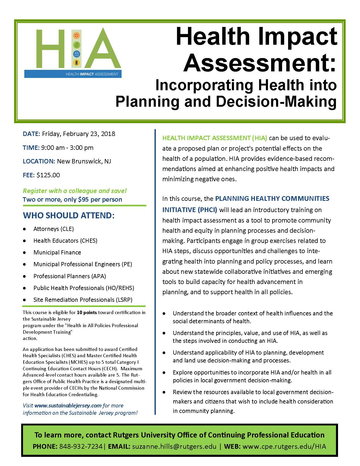 Join Eac For Hia Incorporating Health Into Planning Decision